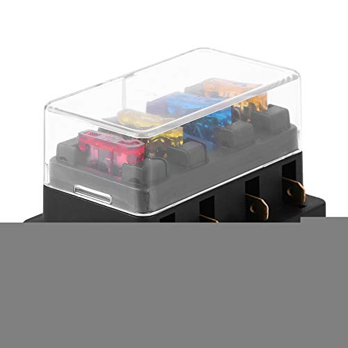 Portafusible de cuchilla,Jadpes Fuse Box, 12-24V Car 4 Way Circuit Standard Fuse Box Block Holder con 5A + 10A + 15A + 20A Fusible accesorios automotriz Novedad