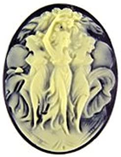 WireJewelry 40x30mm Oval Black and Ivory Fashion Cameo Three Dancing Graces