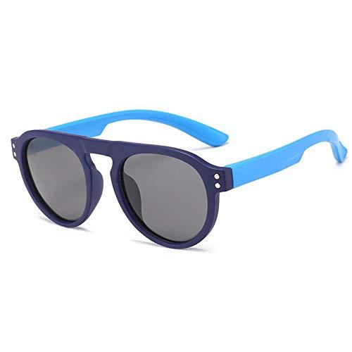 Gosunfly Gafas de sol deportivas infantiles polarizadas contra el viento-Montura azul oscuro patas azules_Luz polarizada / TAC