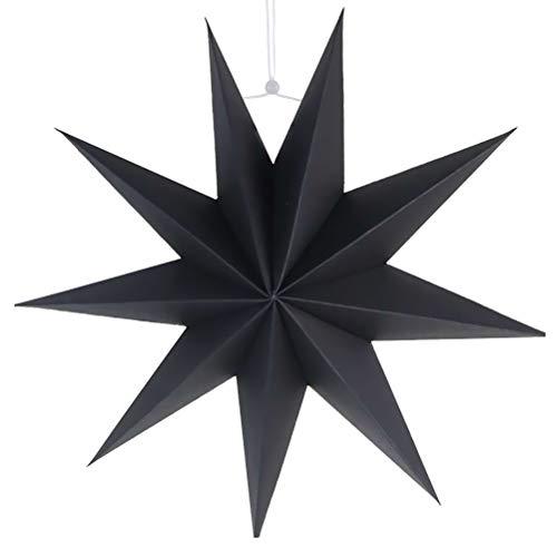 SUPVOX Papier Lampenschirm Handmade Star Lantern Umweltfreundlich Lampe Zubehör 30cm (Schwarz)