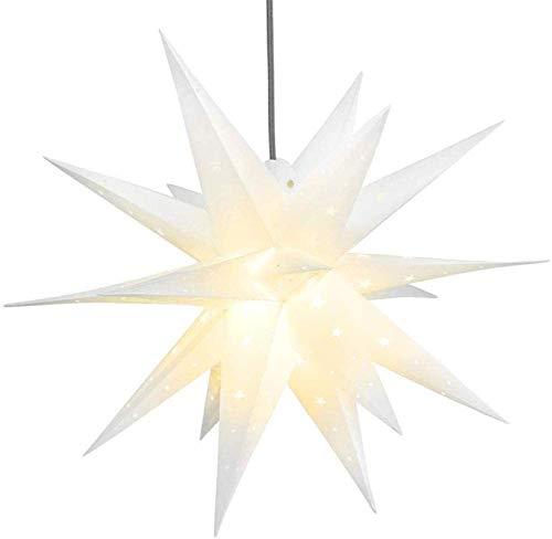 3D Weihnachtsstern Beleuchtet Fenster Batterie mit Timer - 45cm led Weihnachtsbaumspitze Stern, Leuchtstern Stern Zum Dekorieren von Weihnachtsbaum, Innenhof, Balkon Und Garten - Qijieda(White)