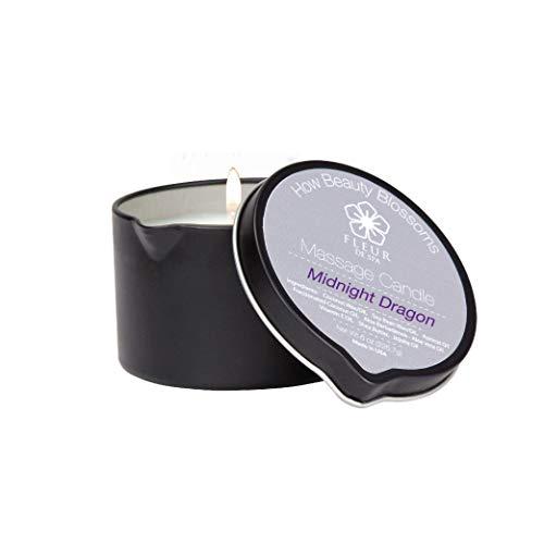 Midnight Dragon Massage Oil Candle by Fleur De Spa 6oz, Coconut oil, Soy, Jojoba