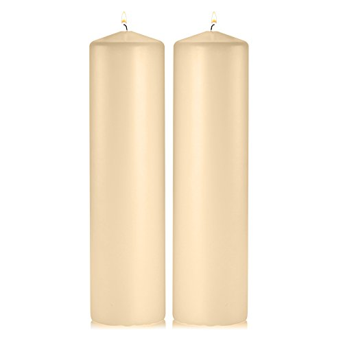 Light In The Dark Ivory Pillar Candles - Set of 2 Unscented Pillar