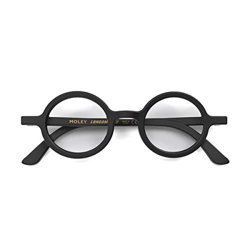 LONDON MOLE Eyewear | Moley Runde Lesebrille | Coole Leser | Herren Damen Unisex | Schwarz | +1.0