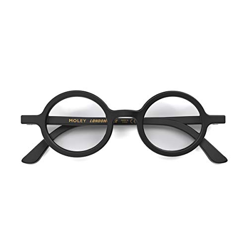 LONDON MOLE Eyewear | Moley Runde Lesebrille | Coole Leser | Herren Damen Unisex | Mattschwarz | +1,5