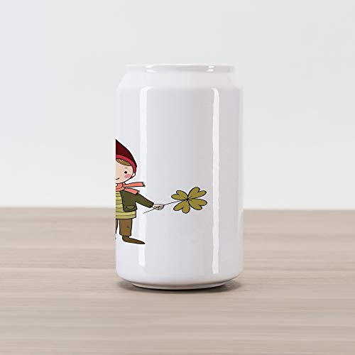 Ambesonne Gnome Cola Can Shape Piggy Bank, Little Elf Boy with Clover and Watering Magic Gardening Joyful Cartoon, Ceramic Cola Shaped Coin Box Money Bank for Cash Saving, Olive Green Ruby
