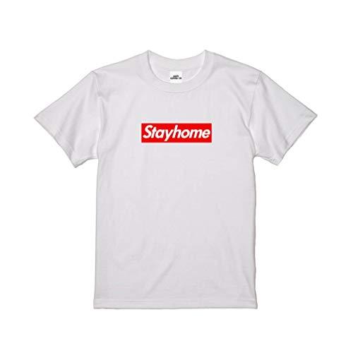 Stay Home ステイホーム red ブランド Tshirt コロナ支援寄付 Tシャツ 白 white ホワイト 新型コロナウイルス対策 (L)