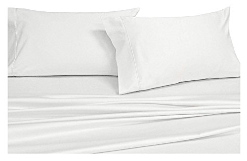 Royal Hotel Top-Split-California-King: Adjustable Cal King Bed Sheets 4PC Solid White 100% Cotton 600-Thread-Count, Deep Pocket