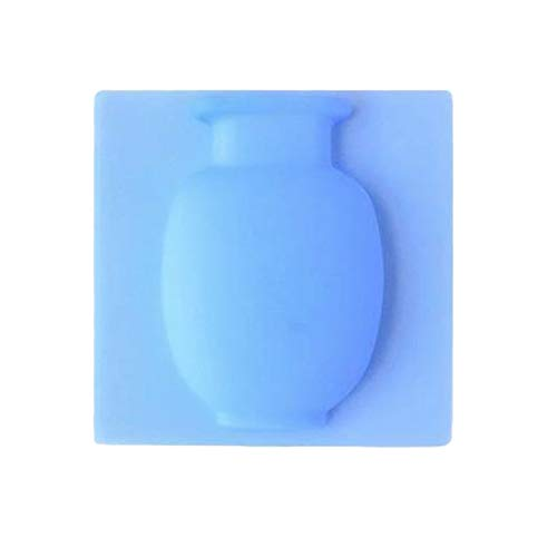 Gesh Jarrón adhesivo de silicona fácil de quitar para pared y refrigerador, florero mágico para plantas de bricolaje, accesorios de decoración del hogar (azul)