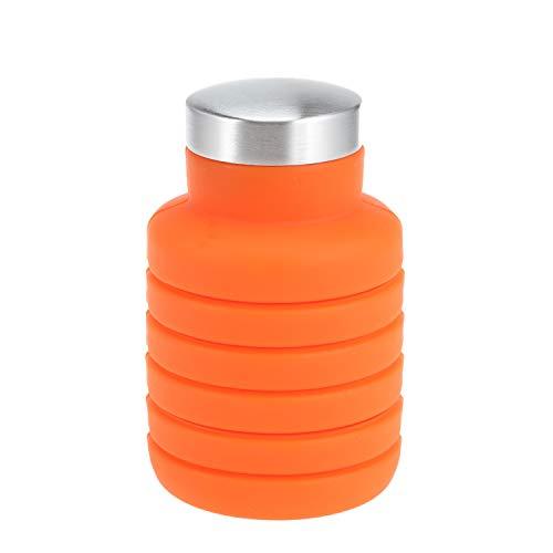 PENVEAT 500 ML Portable Bouteille d'eau en Silicone rétractable Pliant Bouteille de café en Plein air Voyage Boire Pliable Sport Drink Bouilloire Taille Unique Orange