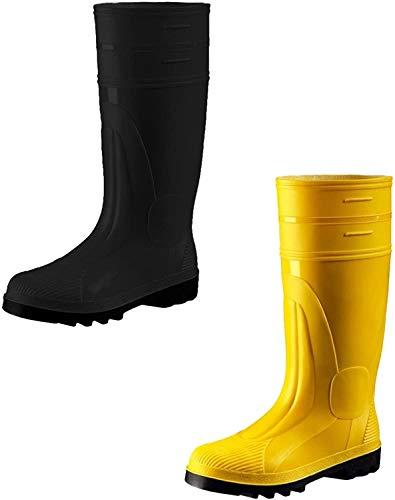 ATS S5 Sicherheitsstiefel schwarz gelb Gr. 39-50 Baustiefel Unisex, PVC Gummistiefel Stiefel mit Stahlkappe (50, schwarz)