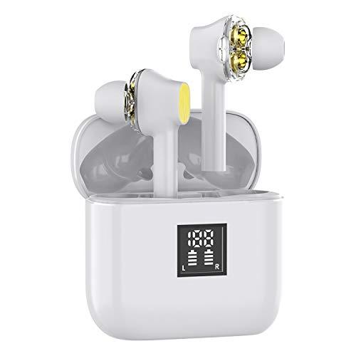 WinCret Bluetooth Kopfhörer Kabellos in Ear, Dual Dynamic Treiber, Hervorragender Sound Bass & Höhen, Noise Cancelling, 40Std Laufzeit, IPX5 Wasserdicht Magnetische Kopfhörer mit HD-Mikrofon