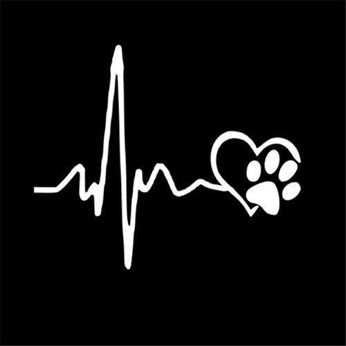 Pegatinas creativas de moda para coche, pegatinas de motocicleta, cardiograma de amor, diseño de huellas de perro, accesorios decorativos creativos, impermeables, 12 cm x 10 cm (color: blanco)