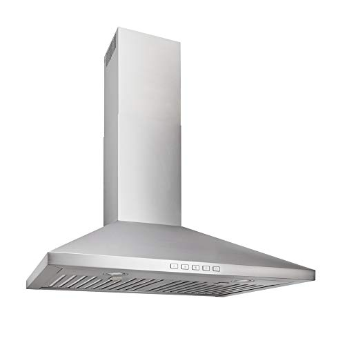 Broan-NuTone BWP2304SS Convertible Wall-Mount LED Lights Pyramidal Chimney Range Hood, 30-Inch, Stainless Steel