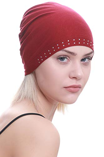 Deresina Headwear Jeweled Wesentliche Baumwollkappe für Haarausfall, Krebs, Chemo (Burgund)