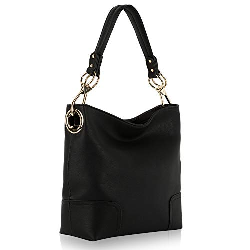 Mia K. Collection Hobo bag for Women - Satchel-Tote shoulder Bag - Vegan Leather Womens Purse Top Handle Pocketbook Handbag, Black