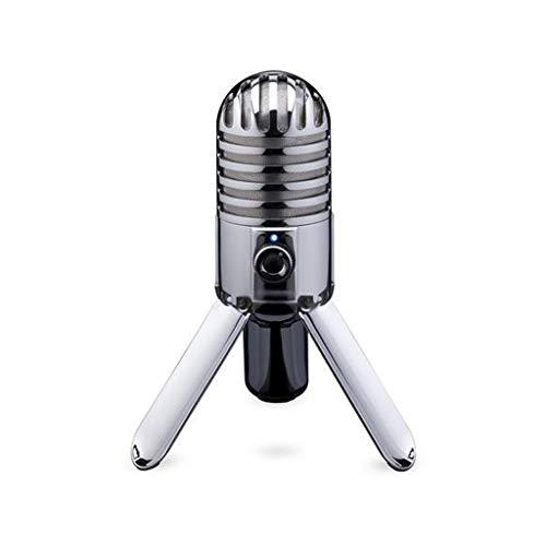STRAW Micrófono de Condensador para grabación, Pata Plegable con Cable USB, Bolsa de Transporte para computadora (Color : Gray)