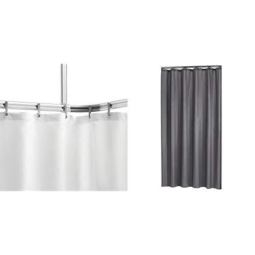 Sealskin Komplett Set Easy Roll Duschvorhangstange, Farbe: Chrom-matt, Duschvorhanghalterung zur individuellen Montage auf Maß, Aluminium + Textil Duschvorhang Madeira, Farbe: Grau