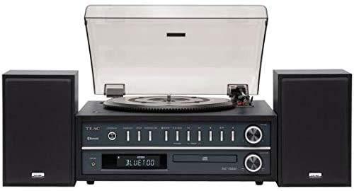 Teac MC-D800(B) Plattenspieler-CD-Player Kombisystem (Schallplattenspieler, Riemenantrieb, drei Drehgeschwindigkeiten (33/45/78rpm), Bassreflex Lautsprecher, Bluetooth, USB, Radio), Schwarz
