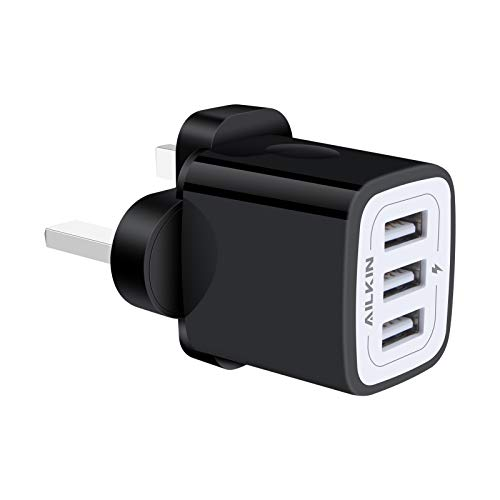 USB Charger Plug, AILKIN 3.1A 3-Port USB Wall Charger Power Adapter Fast Charging, Mains Charger Plug for iPhone 12 Mini 11 Pro X XR XS Max 8 7 6 Plus, iPad Air, Samsung S20 S10 S9 S8 S7