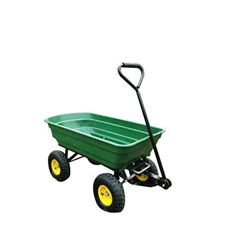 HOMCOM 75 Litre Garden Cart Heavy Duty 4 Wheel Trolley Dump Wheelbarrow Tipper Trailer - Green
