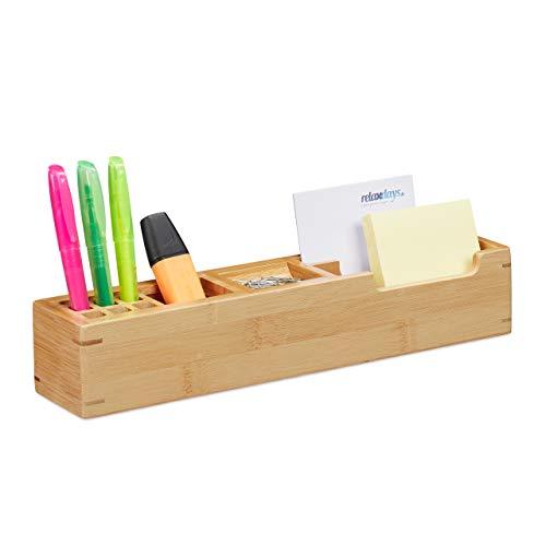 Relaxdays Organizador de escritorio, Once compartimentos, Bambú, Marrón, 6 x 32 x 7 cm