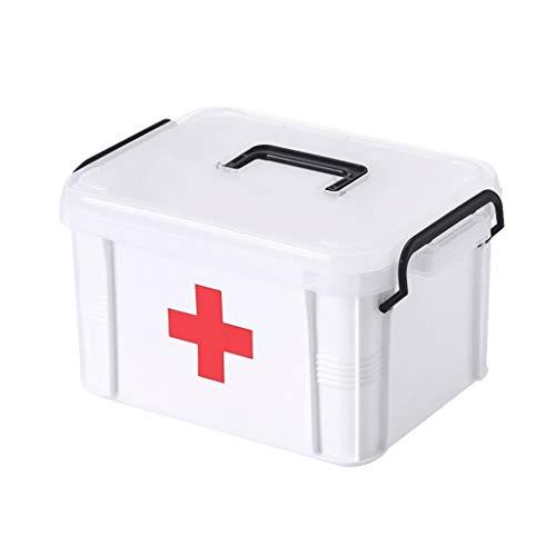 Jinxin-Joyero Caja de Almacenamiento Caja de Almacenamiento Acolchada de plástico Caja médica Casa, Viajes, Camping, Oficina El Lugar de Trabajo (Color : Blanco, Tamaño : 27 * 20.5 * 19cm)