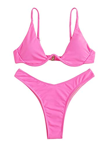 Verdusa Women's Sexy Triangle Bathing Two Pieces Swimsuit Bikini Set Hot Pink M