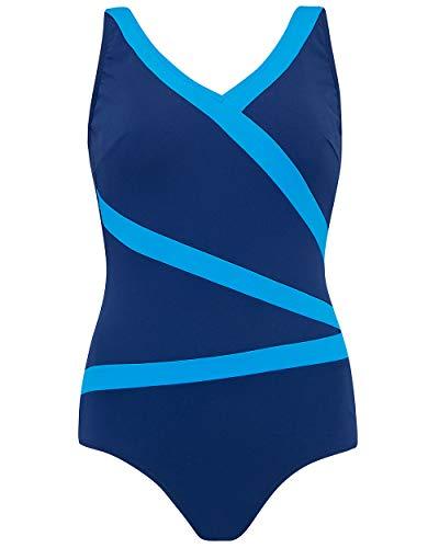 Nicola Jane dames blauw zwemmen kostuum chloorbestendig met zakken V-hals badpak ~ maat 14 tot 26 (S221)