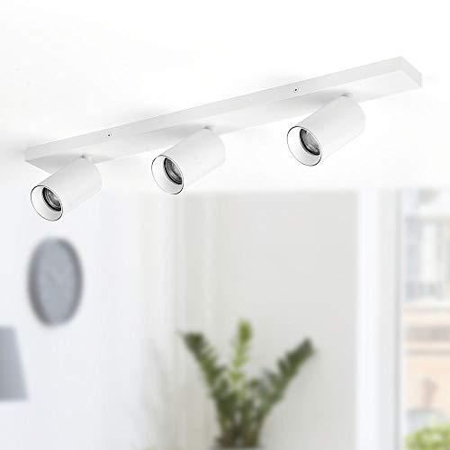 loomiQ Deckenleuchte - moderner LED GU10 Strahler Deckenleuchte/schwenkbar, drehbar, dimmbar - Deckenleuchte 3 Strahler - 3flammig weiß - Deckenstrahler dreiflammig/Küche