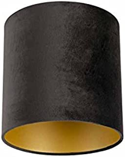 QAZQA Cartón Pantalla terciopelo negra/oro 25/25/25, Redonda/Cilíndrica Pantalla lámpara colgante,Pantalla lámpara de pie: Amazon.es: Iluminación
