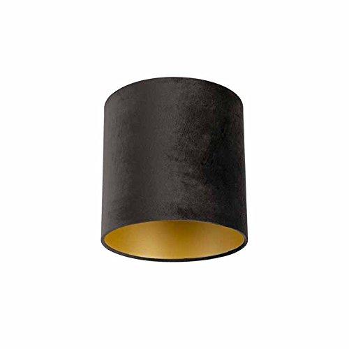 QAZQA Clásico/Antiguo Cartón Pantalla terciopelo negra/oro 25/25/25, Redonda/Cilíndrica Pantalla lámpara colgante,Pantalla lámpara de pie