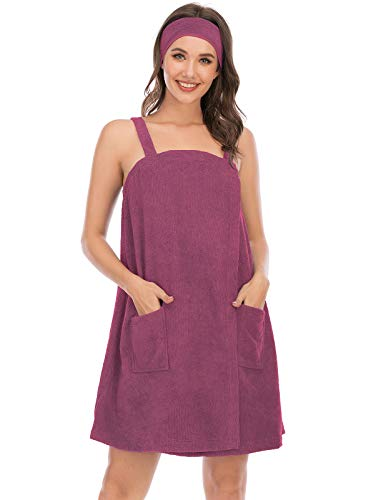 Terry Cloth Spa Wrap for Ladies Gym Shower Towel with Adjustable Closure & Elastic (M,Fuchsia)