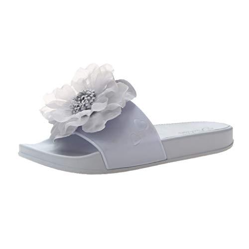 iYmitz Damen Slipper mit Blumen Sommer Mode Lässig Zuhause Hausschuhe Strandschuhe(Violett,EU-36)
