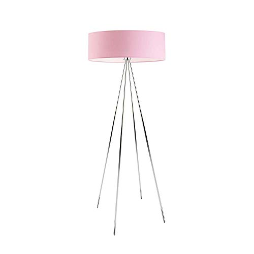 IBIZA - Lámpara de pie con pantalla de lámpara, color rosa claro, marco cromado