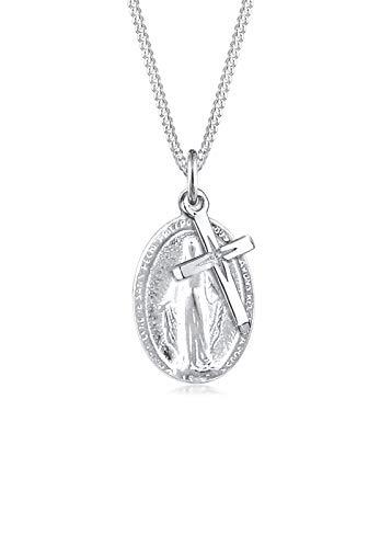 Elli Halskette Damen mit Marienbild Kreuz Anhänger in 925 Sterling Silber