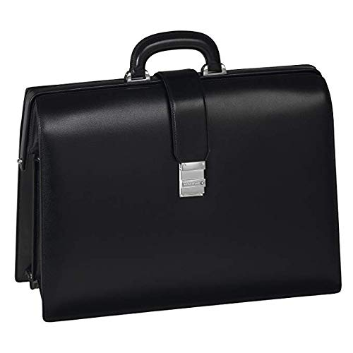 Montblanc Mont Blanc Black Leather Meisterstuck Triple Gusset Frames Briefcase 105925