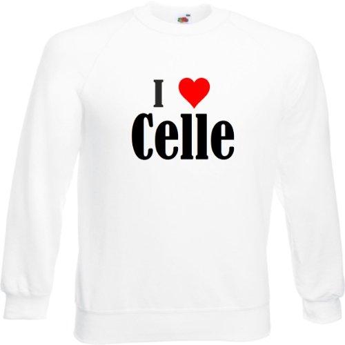"""Sweatshirt Damen""""I Love Celle""""Größe""""2XL""""Farbe""""Weiss""""Druck""""Schwarz"""
