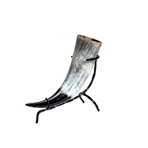 Juego de cuerno de beber – Methorn en tamaños versch incluye soporte de mesa – para Met – vikingo – Edad Media – LARP – de cuerno de vacuno decoración regalo, 0,15L
