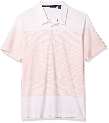 adidas Golf Adicross Stripe Pique Polo, White/Amber Tint, 2X-Large