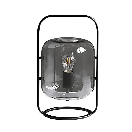 Lámpara de Mesita de Noche Lámpara de mesa industrial Lámpara de noche antigua de la lámpara de mesa con marco de metal robusto para la mesa de noche Mesa de café del pasillo Decoración del hogar Gris
