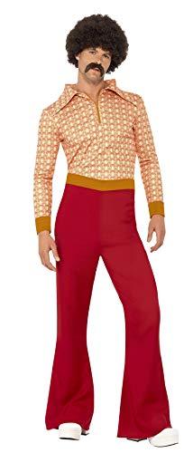 Smiffy'S 43189L Traje De Auténtico Chico De Los 70 Con Top Y Pantalones De Talle Alto, Rojo, L - Tamaño 42