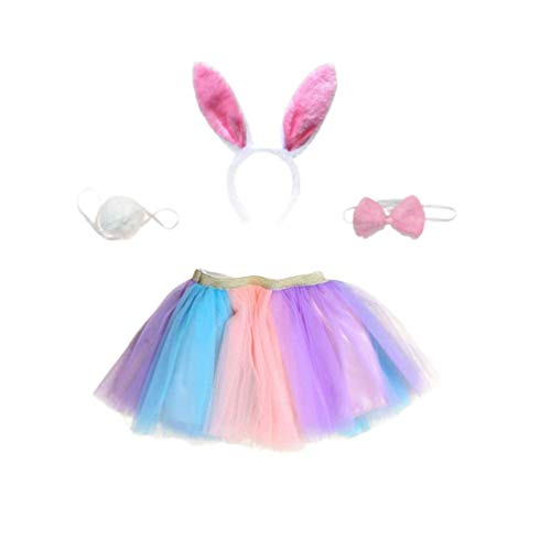 Enfants Lapin Lapin Costume et Bandeau Tulle Tutu Shirt Lapin Queue et Bowtie for Les Filles Easter Party Favors (Taille S) zcaqtajro (Size : L)