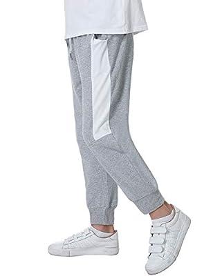 Sykooria Boys Jogger Pants Athletic Pants Cotton Drawstring Elastic Sweatpants with Pockets Grey White