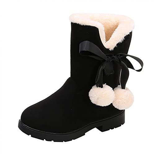 Śniegowce dziecięce, botki dla dziewcząt, buty zimowe, chłopięce, pluszowe, krótkie kozaki, ciepłe z podszewką, buty dziecięce, termiczne, antypoślizgowe, czarny, 28