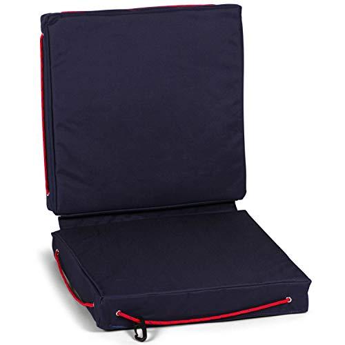 wellenshop Sitzkissen für Boote Schwimmfähig Wasserdicht Kissen Boot Caravan Camping Garten Stuhl Outdoor Farbe Blau, Größe Einzelkissen