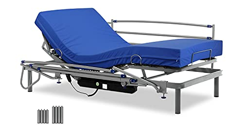 Gerialife® Cama articulada con colchón Sanitario viscoelástico Impermeable (90x190 + Barandillas)