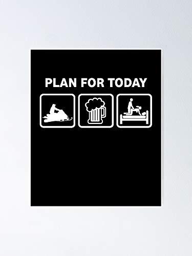 Situen Snowmobile Plan For Today - Poster in motoslitta, decorazione per sala giochi, stampabili per bambini, decorazione da parete per cameretta dei bambini, decorazione da parete stampabile.