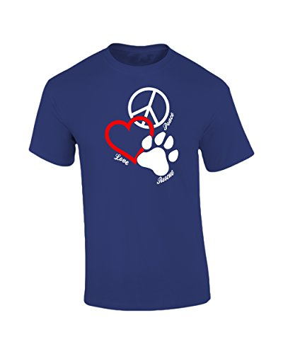Canine Pet Rescue CPR Peace Love Rescue with Pawprint T-Shirt Dog Puppy K9 German Shepherd Adopt -Royal-Small