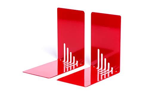 Maul boekensteunen van metaal, smal 14 x 8,5 x 14 cm rood